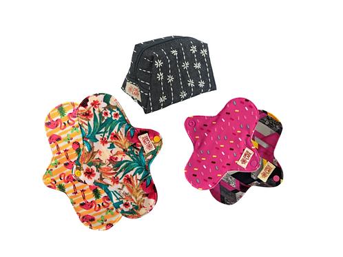 Kit Absorventes de Pano Fluxo Leve + Necessaire tecido impermeável - Em até 3X