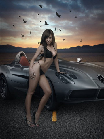 Model with Mercedes by Peter Pickering Photography