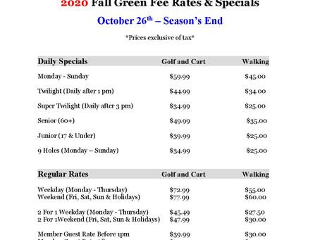 Fall Rates & Specials
