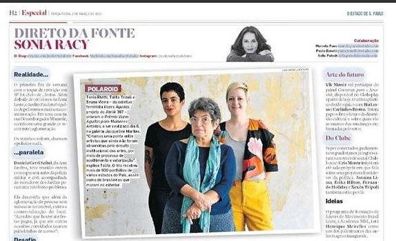 """Coluna """"Direto da Fonte Sonia Racy"""". O Estado de S. Paulo, 2 de março de 2021"""