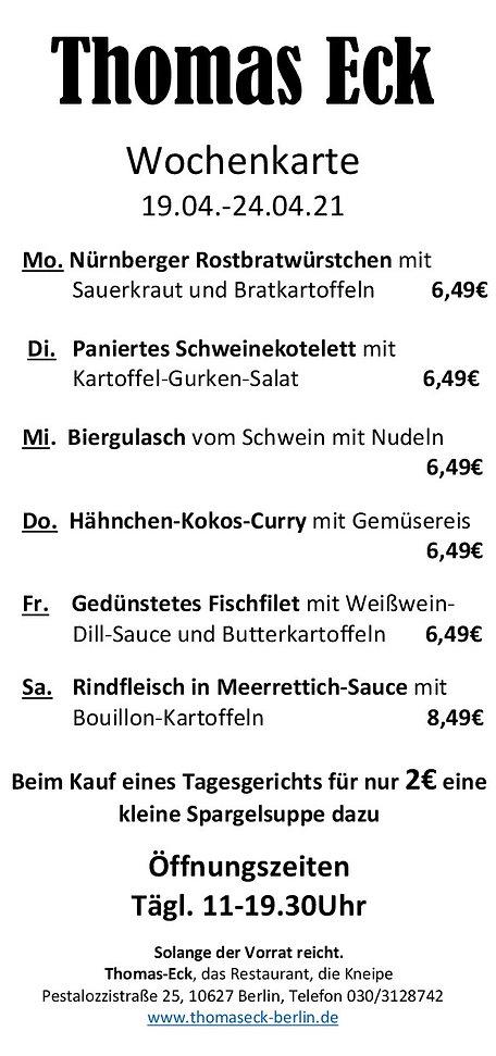 Thomas Eck Wochenkarte 19.04.-24.04.2021