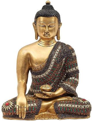 Bhumisparsha Shakyamuni Buddha in an Adorable Stone Studded Robe