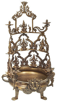 Ashtalakshmi Urli With Lamp-Trays At The Zenith And Around The Vessel