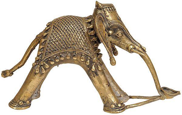 Tribal Elephant with Diya and Trident Mark on Forehead