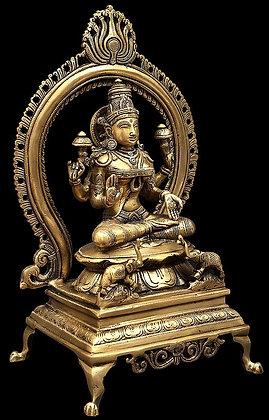 Goddess Lakshmi as Kamala Seated on Throne with Prabhavali