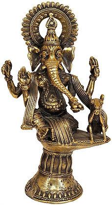 Fine Tribal Ganesha Enjoying Modak