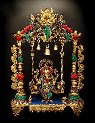 Swinging Lord Ganesha With Fine Inlay Stone Work