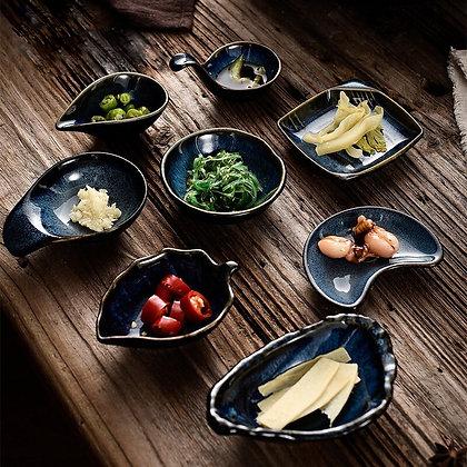 Japanese Style Ceramic Sauce Dish Round Square Household Tableware