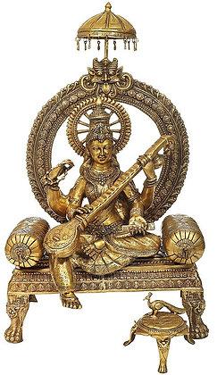 Enthroned Sarasvati With her Vahana On A Three-Legged Stool