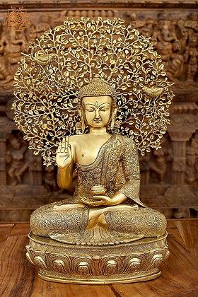 Seated Shut-Eyed Buddha Afore A Bodhi Tree Aureole