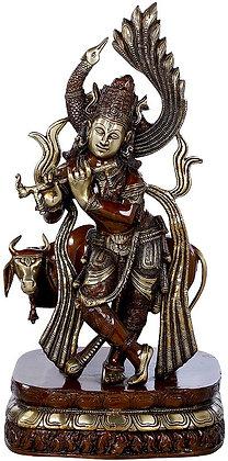 Peacock Haloed Krishna Fluting With Surabhi Cow
