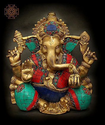 Four Armed Auspicious Lord Ganesha With Inlay Work