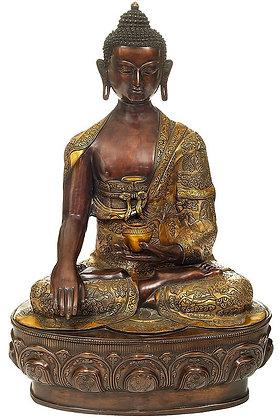 Bitone Buddha Seated On A Gigantic Lotus Bloom Throne