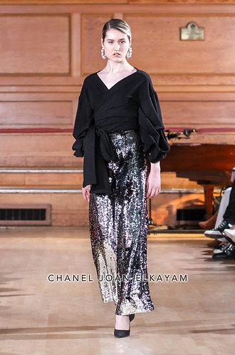 Silver/Black Sequin Embellished Trouser