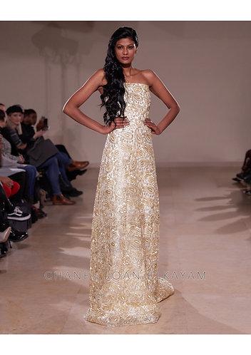 Embellished Lace Gold Dress