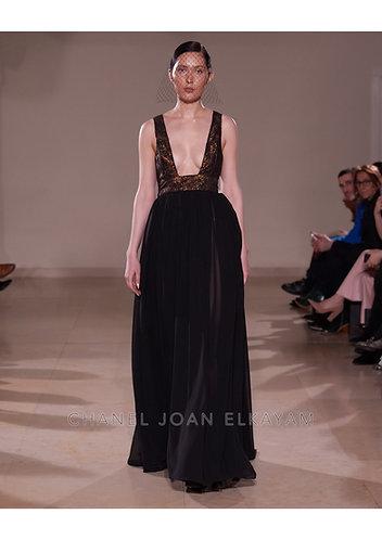 Black Bronze Deep Open Dress