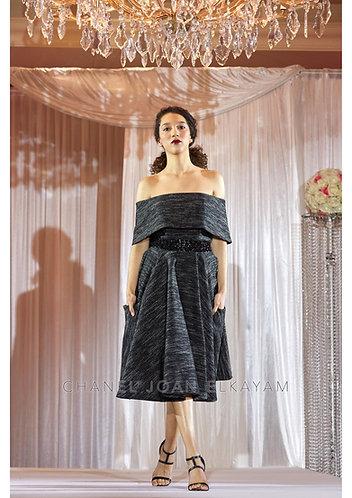 Bardot Neckline Hand Embellished Dress