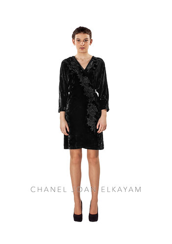 Embroidered Appliqué Kimono Wrap Dress