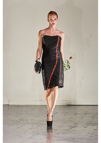 Asymmetric Jacquard Line Strapless Dress