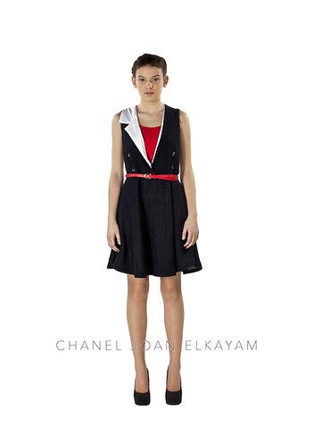 Sleeveless Notched Collar Dress