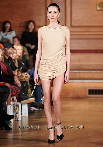 Draped Gold Mini Dress