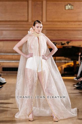 Hand Embellished Sheer Long Cape Dress