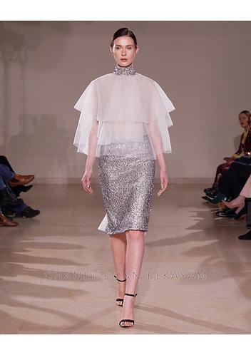 Embellished Sequin Godet Skirt