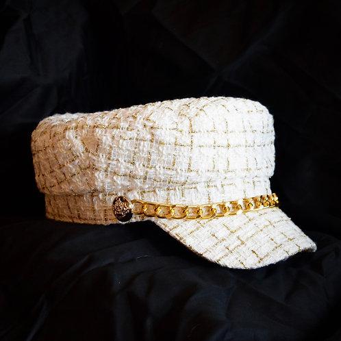 White Tweed Baker Boy Hat