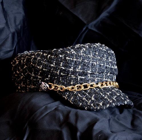 Black Tweed Baker Boy Hat