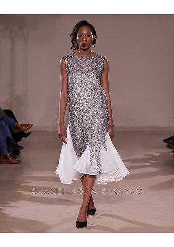 Embellished Sequin Asymmetrical Godet Dress