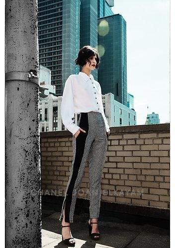 Black/Grey Straight Trouser