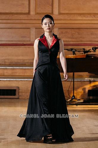 Red & Black Asymmetrical Godet Trouser