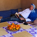 Relaxing and reading at Dar Sidi Bounou