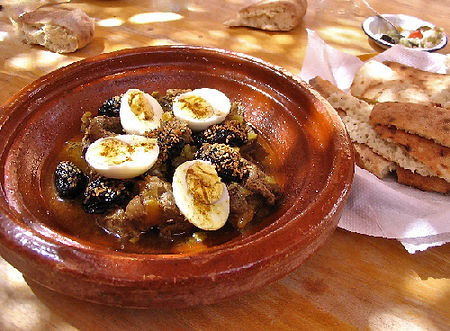 Lamd tagine with prunes and boiled eggs