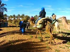 Off to the desert camp on the camels