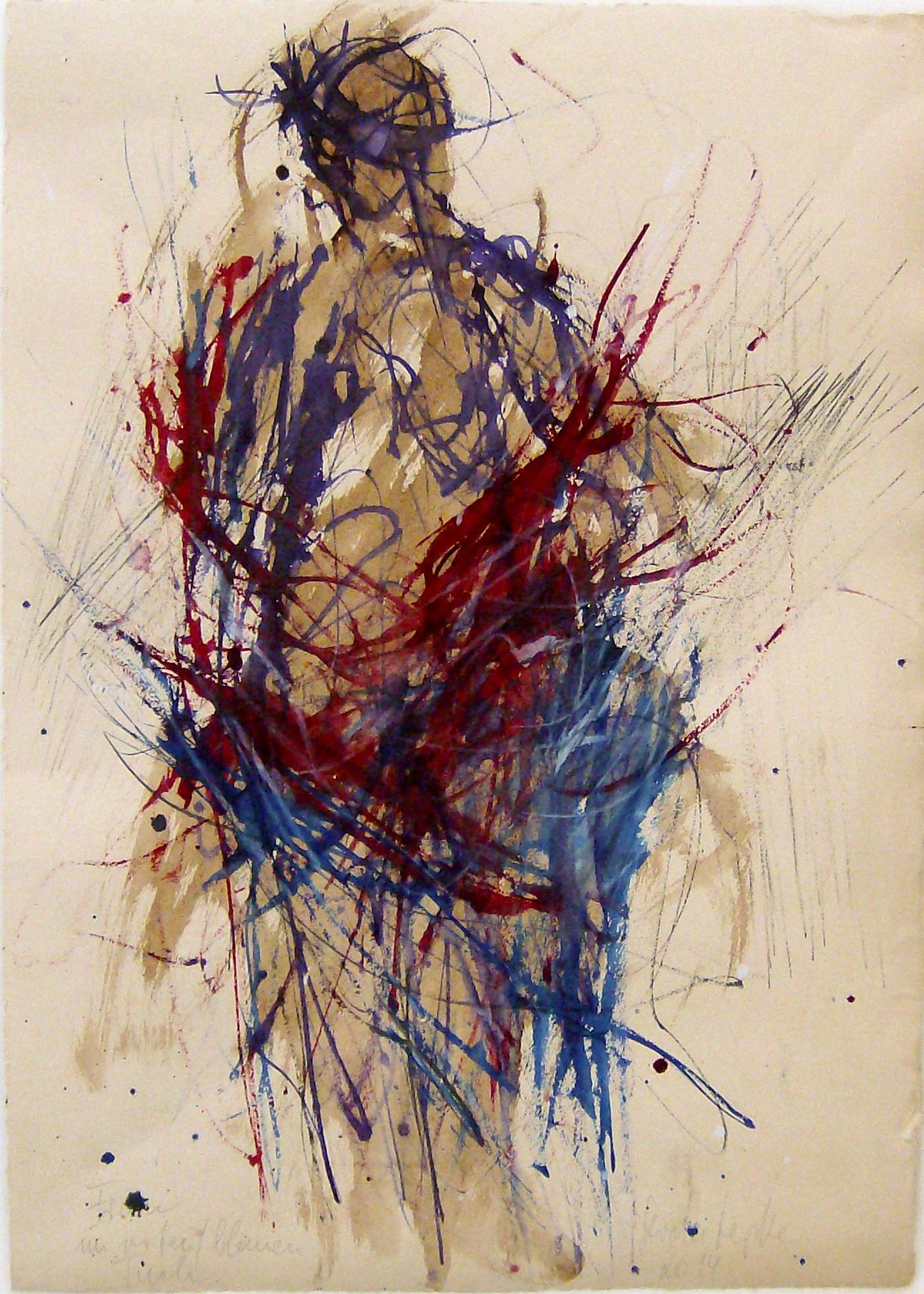 GERda Lepke. Figur in rot mit blauem Tuch