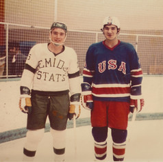Hockey Henry Boucha USA with Lyle Kvarnl