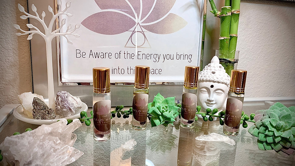 Crystal Infused Essential Oil Rollers using Magnesium carrier oil!