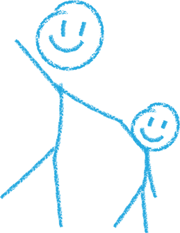 Crayon Drawing of Adult Holding Child's Hand