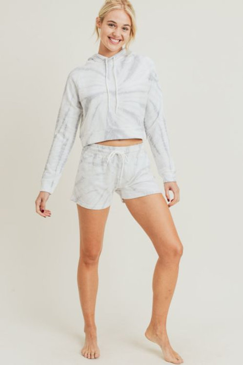 Terry Cotton Tie-Dye Cropped Hoodie Pullover