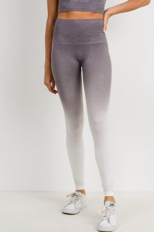Highwaist Gradient Seamless Ribbed Perforated Leggings