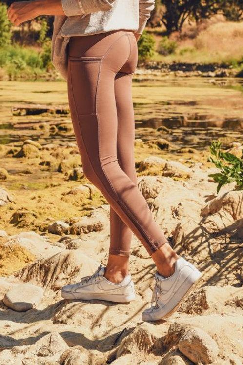 Highwaist Side-Mesh & Slit Full Leggings