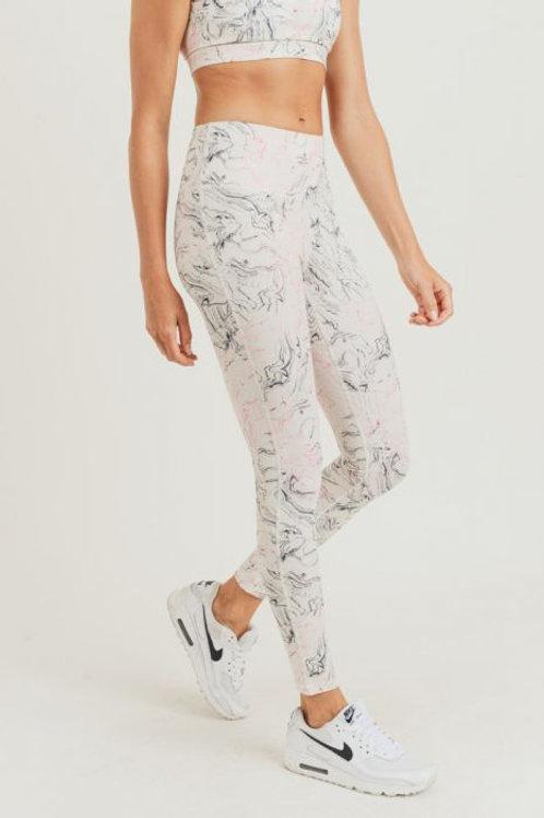 Marble Swirl Print Highwaist Leggings