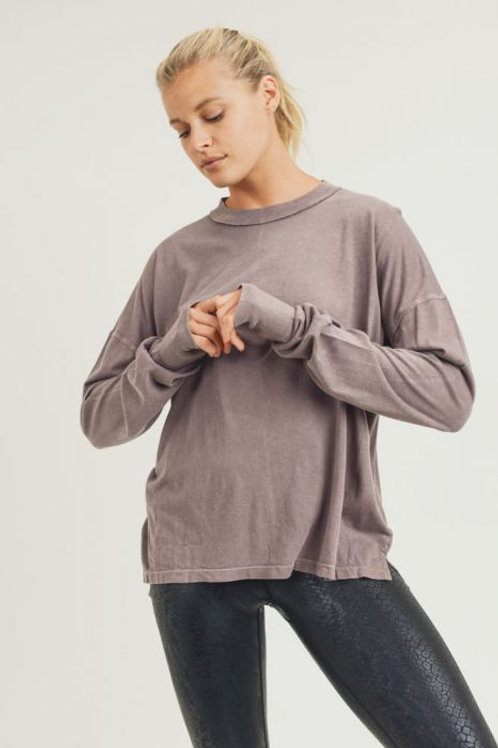 Longline Mineral-Washed Hi-Lo Sweater with Thumb Holes