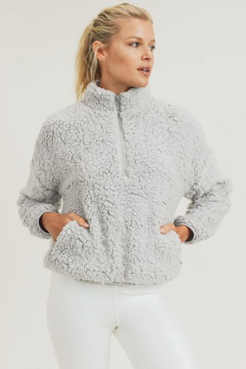 Sherpa Cropped Half-Zip Jacket