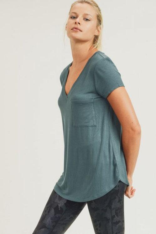 Longline Deep V-Neck Pocket Shirt