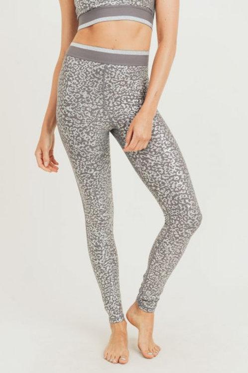Silver Foil Leopard Print Highwaist Leggings