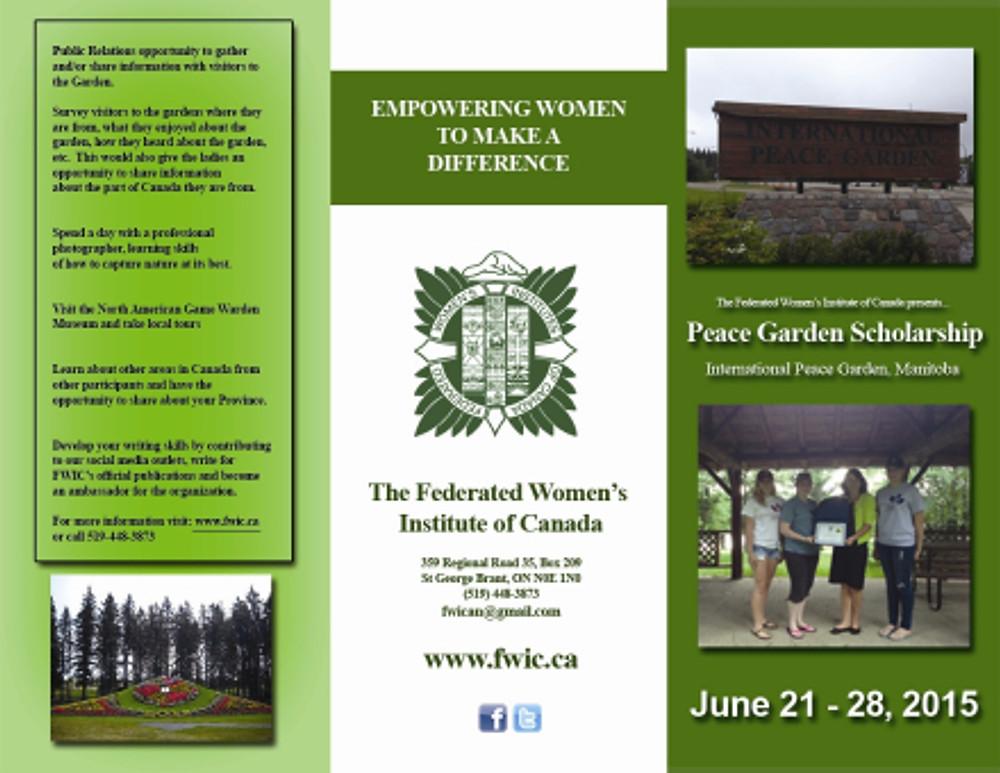 2014-2015 Peace Garden brochure