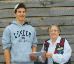 Cameron Burns receives Frances Taylor Bursary from Norma Sherrer