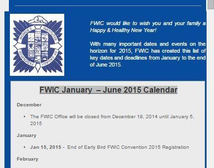FWIC January  – June 2015 Calendar